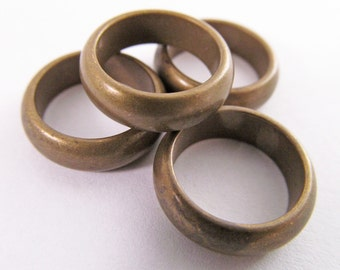 10 Vintage 16mm Solid Brass Ring Components Mt166