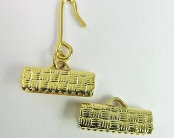 4 Vintage 16mm Gold-Plated Ribbon End Hook Crimp Clasp Sets Cl63