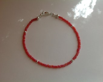 Peachy Coral color and Silver Anklet