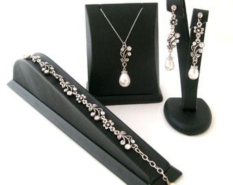 Vintage inspired Art deco crystal rhinestone naturel sea pearl 925 sterling silver chain jewelry set wedding jewelry bridesmaid gift