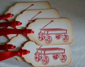 Little Red Wagon Gift/Wish Tree Tags