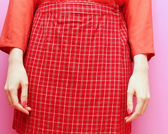 Vintage red plaid school girl skirt