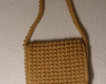 60s - 70s Crochet or Heavy Knitted Woven Purse