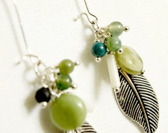 Green Dangle Cluster Earrings-Silver Feathers Jasper Agate Green Earrings
