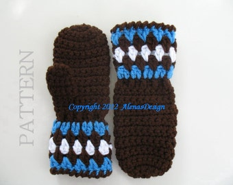 Crochet Pattern 051 for Childrens Mittens Crochet Mitten Pattern - Gloves Crochet Pattern Winter Pattern Toddler Child Big Kid Boys Girls