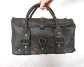 Dark Industrial Tradesmen Leather Tool Bag Black 1940s