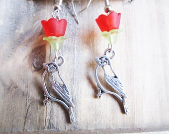 Bird and Flower Springtime Earrings