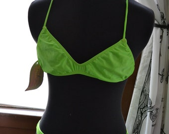 Vintage 1980s Neon Lime Bikini with Daisy Detail on Back-- New with Tags