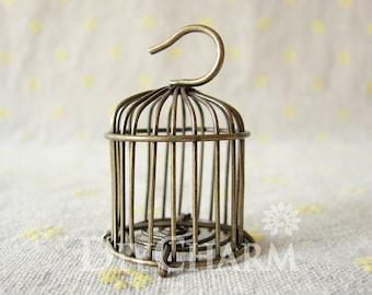 Antique Bronze Round Bird Cage Charms 27x46mm - 1Pc - DC23934