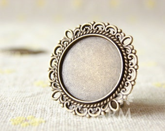 Antique Bronze Cameo Cabochon Base Settings 31x31mm ( Inner Size 20x20mm ) - 5Pcs - DS23447