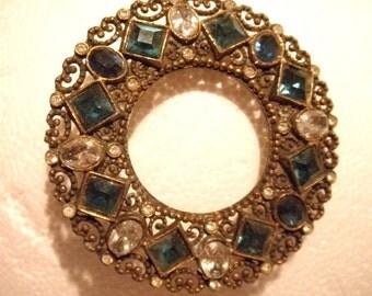Vintage 1940's Multi  Color and Crystal Gemstone  Rhinestone Brooch Pin  all Good