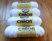 Caron Wintuk vintage yarn baby blue pink lot of 4