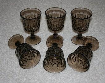 Vintage Noritake Perspective Pattern Brown Glass Glasses Stemware Set of Six
