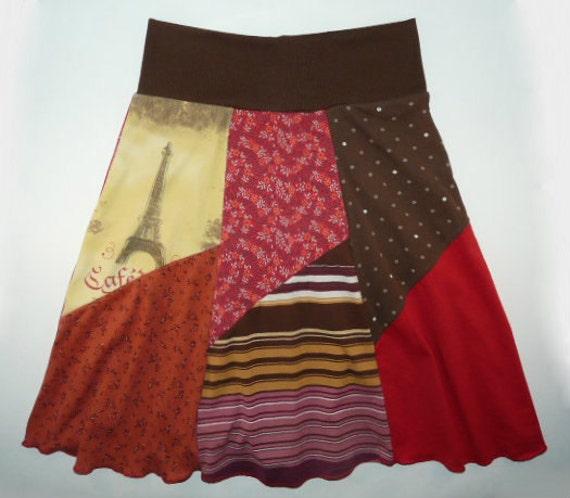 Eiffel tower boho chic hippie skirt women s small medium