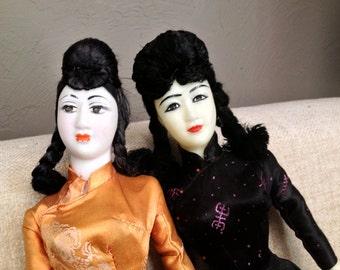 Rockabilly Dolls Asian Geisha Girl Japan Japanese Chinese Viet Nam War Era Souvenir Collectible Kitch Home Decor 1950s 1960s 1940s