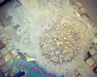 All White Feather Pad Fascinator Over The Top Headband