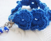 Handmade  Bracelet With Evil Eye - Crocheted Bracelet - Under 15 - Blue or White Bracelet