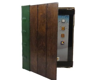 Wood and Green Leather iPad Book case - folio style iPad case