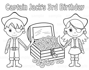 mermaid pirate birthday party favor childrens kids coloring page book activity pdf or jpeg file