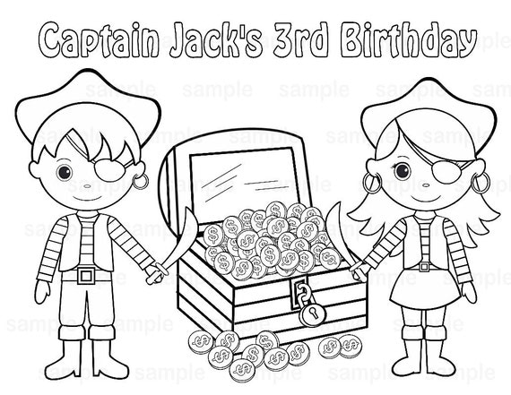 personalized birthday coloring pages | Personalized Printable Twins Pirate Birthday by SugarPieStudio