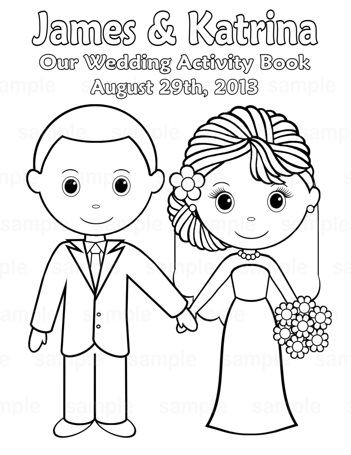 Printable personalized wedding coloring activity by for Activity coloring pages