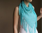 Scarf in Aqua Blue with Fringes - Pareo -Spring Summer Fashion - Women Teens Accessories - Wrap - Shawl  - Beach