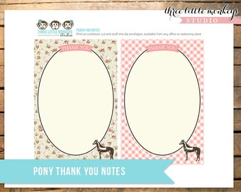 Vintage Pony Party Thank You Notes INSTANT DOWNLOAD