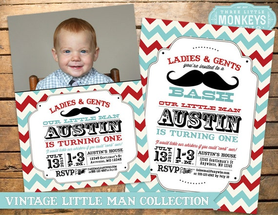 Little Man Birthday Party, Little Man Invitation, Mustache Party, Little Man Birthday Invitation