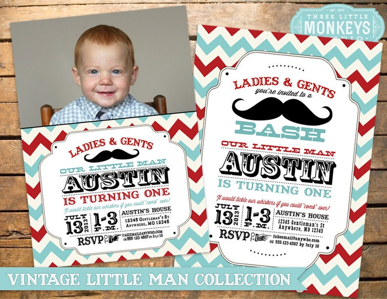 little man birthday party little man by littlemonkeysstudio, Birthday invitations
