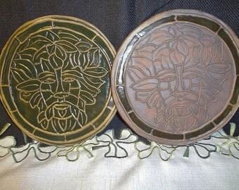Greenman Tile, Ceramic Greenman, Greenman Wall hanging, Wiccan Pottery, Wiccan Altar Dish, Ceramic Trivet, Wiccan Trivet, Greenman Trivet