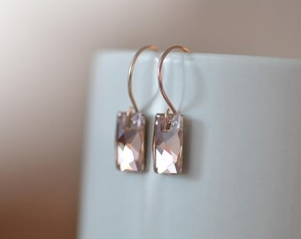 Rose Gold Earrings, Swarovski Crystal Earrings, Rose Gold Mirror Silver Foil Earrings, Hoop Earring Wire, Pink Rose Gold