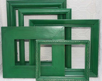 Green Frame Set Shabby Chic Hand Painted Distressed Frame Set