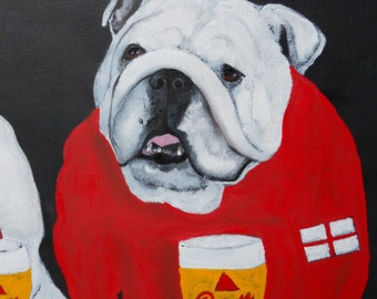 "English Bulldog Art Print of an original oil painting /""Happy Hour at the Soccer Pub""/ 8 x 10 / Dog Art"