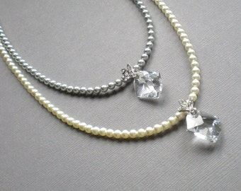 En Vogue Bridal Crystal and Ivory Pearl Necklace Pendant ... with Mini Pearls