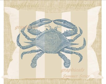 Instant Digital download image Blue crab Wicker tan stripes for iron on fabric transfer burlap decoupage pillow tote bag cards Item No. 1865