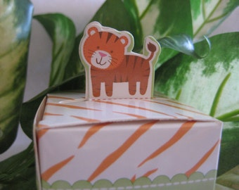 SALE 12 pcs Tiger Party Favor Boxes, Zoo, Animal, Forest, Jungle, Safari Theme, Christening, Birthday, Baby Shower Favors