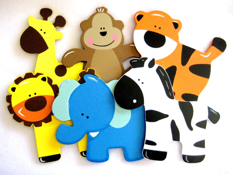 Assorted Wooden Animal Ornaments Monkey Giraffe Tiger Lion