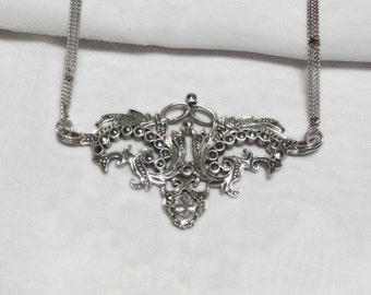 White Topaz and Marcasite Necklace - Sterling Silver - Vintage