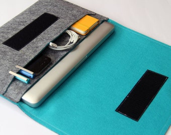 """13"""" inch Apple Macbook Pro Case Sleeve Cover Organizer - Gray & Turquoise - Weird.Old.Snail"""