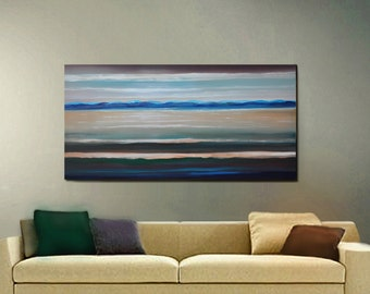 ORIGINAL PAINTING Large 24x48 Ocean Waves Seascape Impressionist  Acrylic Textured Sunset  Fine Art By Thomas John