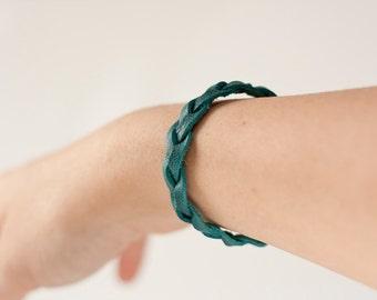 Braided Leather Bracelet / Dark Teal