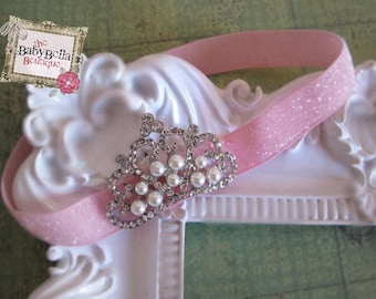 Baby Headband, Crown and pink glitter elastic headband, , Baby Girl Princess headband , Baptism,