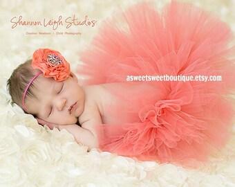 Baby Girl Coral Tutu Set Coral Tutu Coral Baby Tutu Set Coral Cake Smash Tutu Baby Tutus Newborn Coral Tutu And Headband Newborn Photo Prop