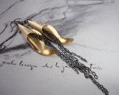 Chains and Leaf Long Dangle Earrings, Mixed Metal, Vintage Brass, Oxidized Sterling Silver, Modern