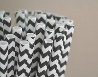 50 Black Chevron Paper Straws, Made in USA