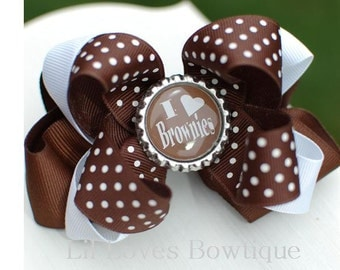 Brownies bow, I love brownies bow, scout bow, scouts, scouting, bottlecap bow, girl bow, sports bow