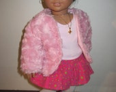 Doll Clothes Pink Faux Fur Coat Also Fits Similiar 18 Inch Dolls American Handmade
