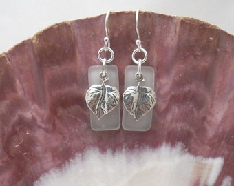 White Sea Glass Earrings with Sterling Silver Leaf Charms
