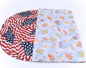 Bird Houses/Patriotic Table Runner, Independence Day/CountryTable Cloth, Red, White and Blue/4th of July Table Decor, 42 in. x 17 in.