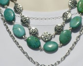 Natural Stone African Turquoise Oxidized Tibetan Silver Triple Strand Necklace